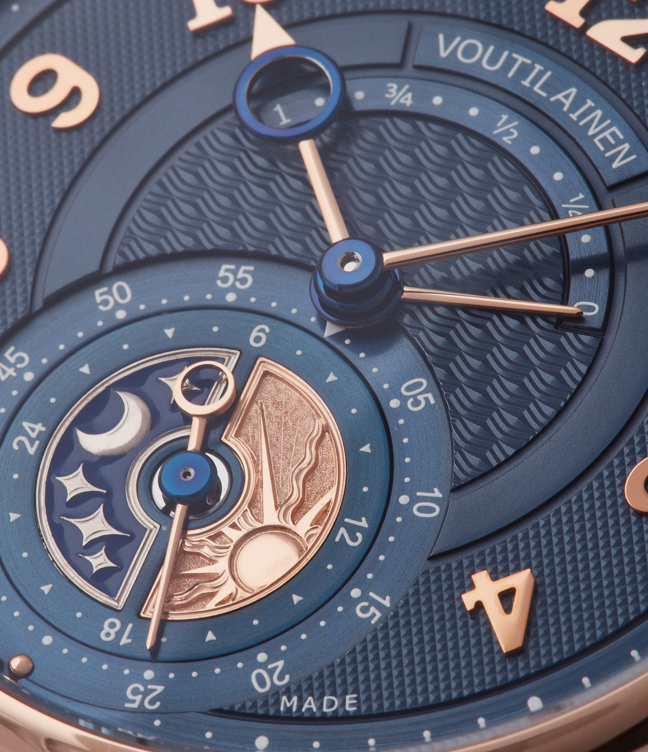blue guilloche dial Voutilainen GMT power reserve rose gold dress watch blue dial for sale online at A Collected Man London UK specialist of rare watches
