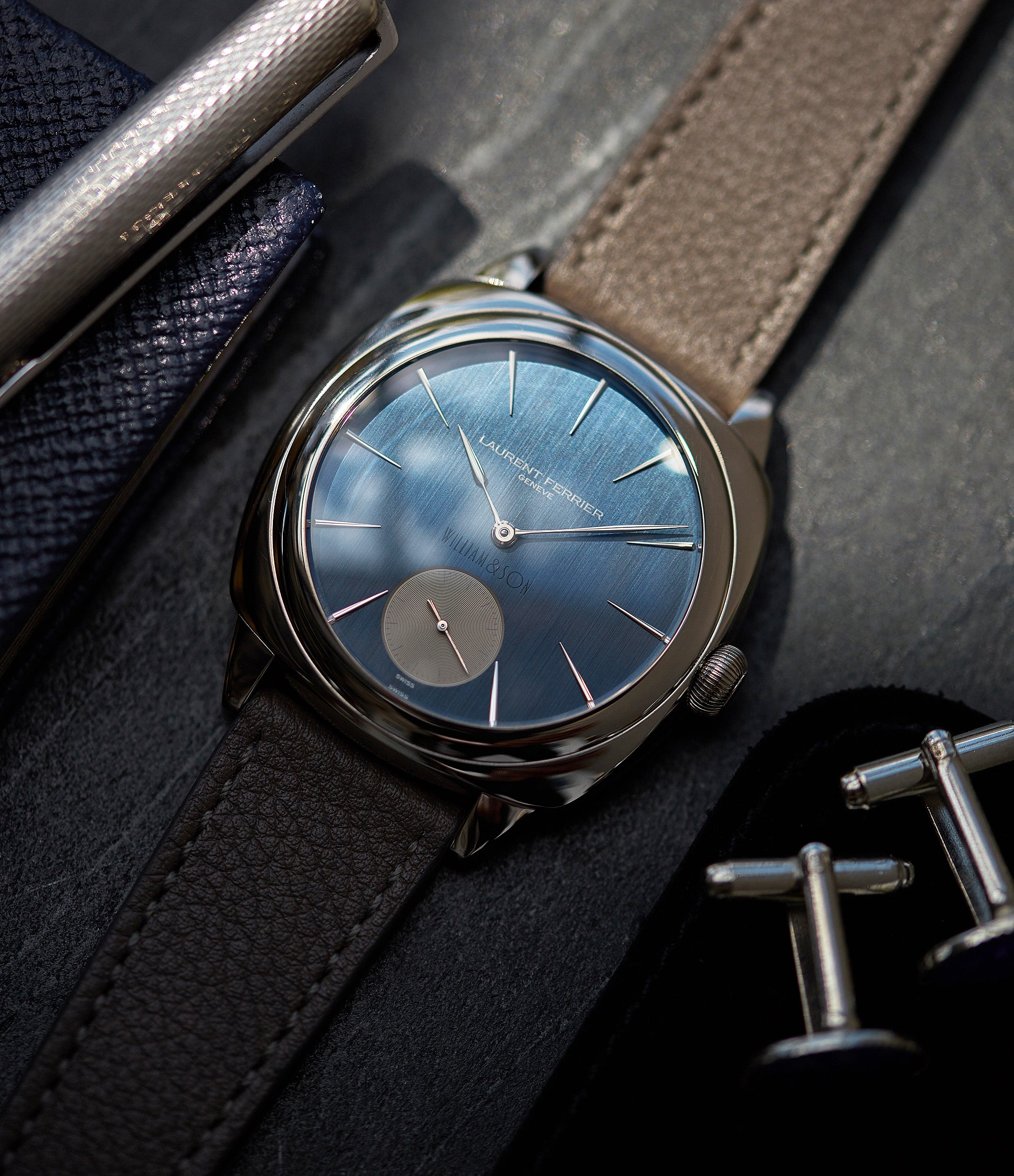 luxury dress watch Laurent Ferrier Micro Rotor LF 229.01 Galet Square William&Son blue dial white gold watch online at A Collected Man London approved seller of preowned independent watchmakers