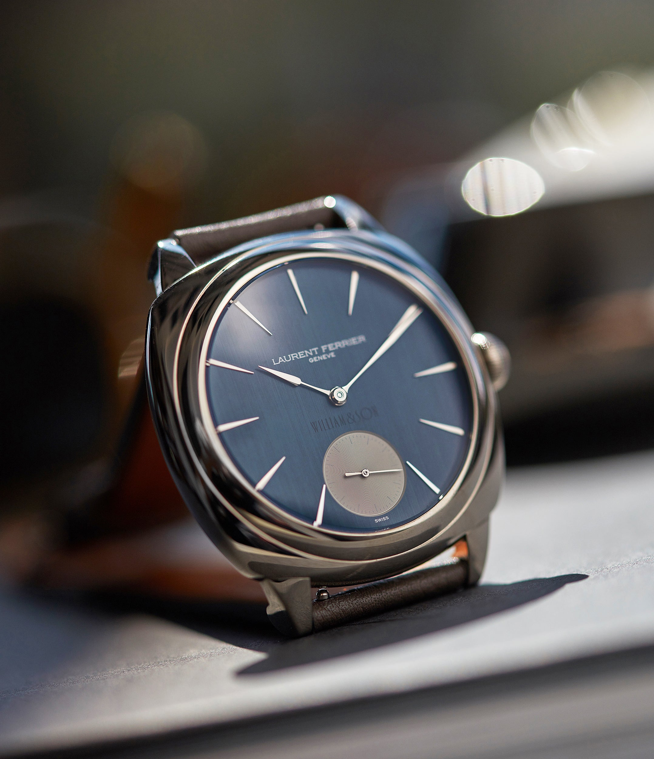 selling Laurent Ferrier Micro Rotor LF 229.01 Galet Square William&Son blue dial white gold watch online at A Collected Man London approved seller of preowned independent watchmakers
