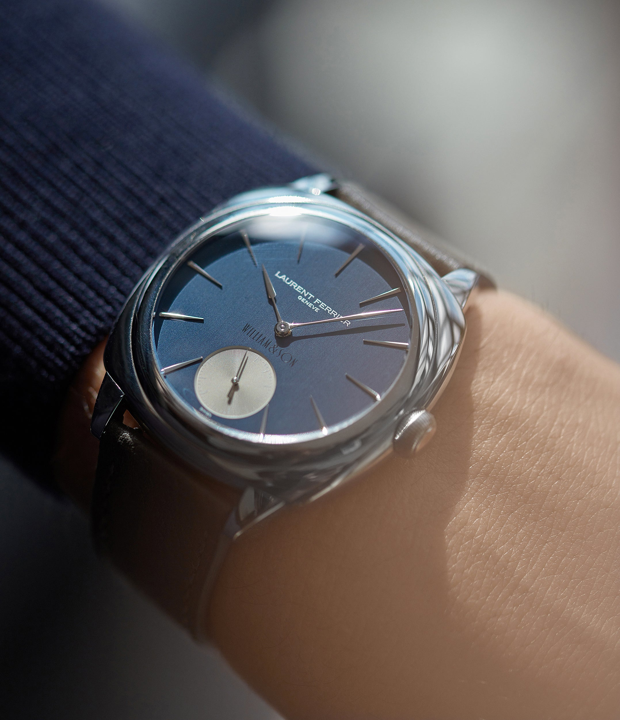 for sale preowned Laurent Ferrier Micro Rotor LF 229.01 Galet Square William&Son blue dial white gold watch online at A Collected Man London approved seller of preowned independent watchmakers
