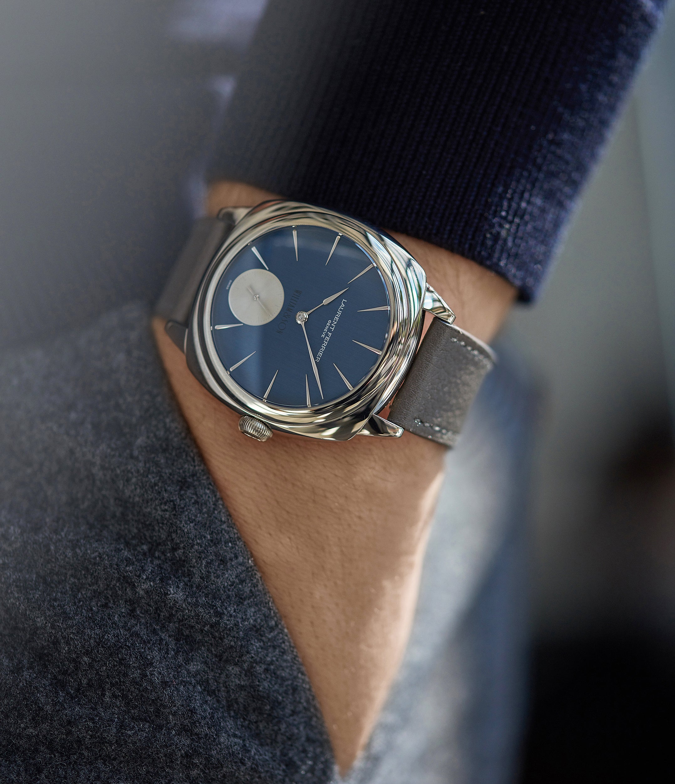 selling preowned Laurent Ferrier Micro Rotor LF 229.01 Galet Square William&Son blue dial white gold watch online at A Collected Man London approved seller of preowned independent watchmakers