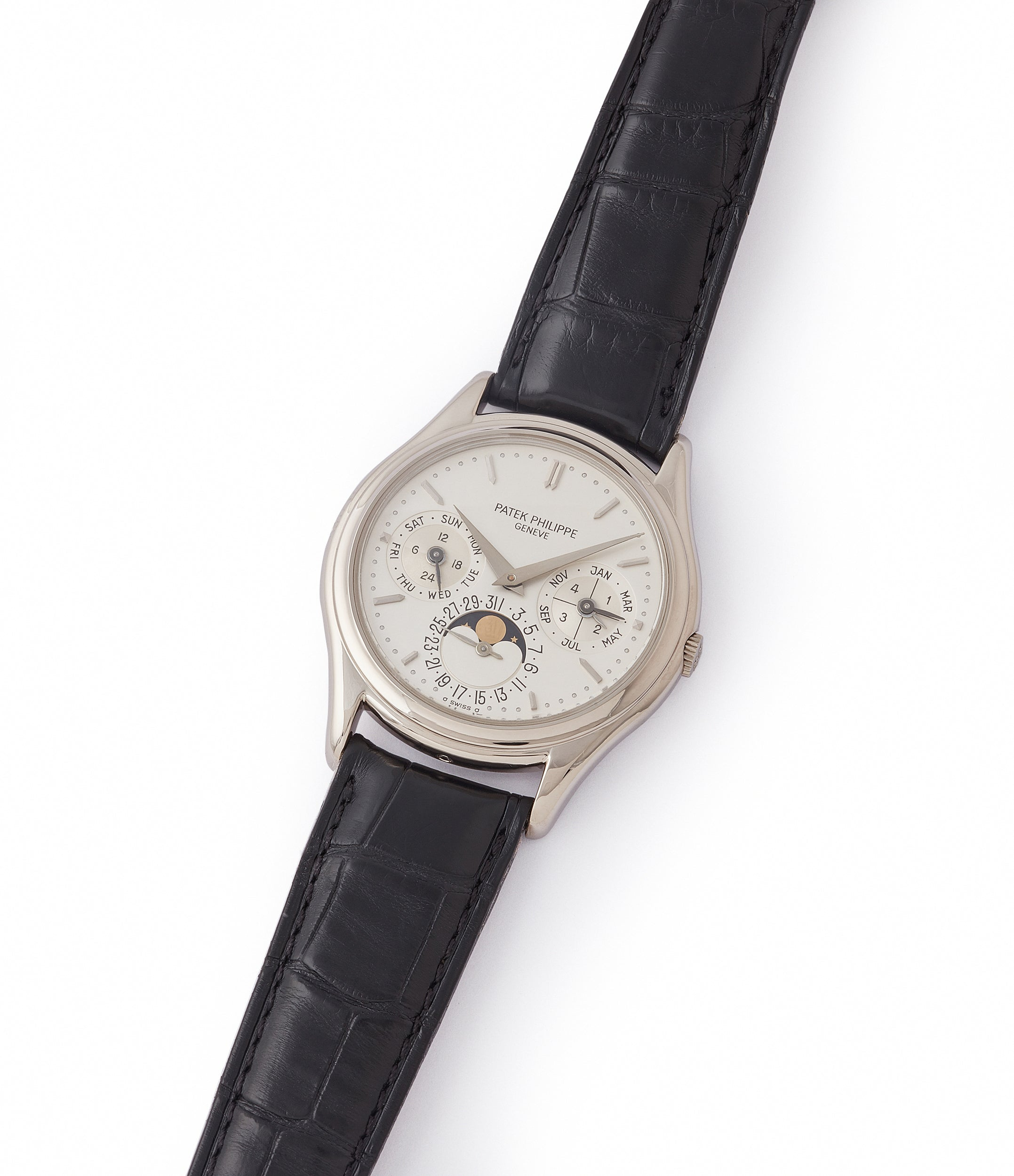 sell Patek Philippe 3940G Perpetual Calendar vintage rare watch English dial for sale online at A Collected Man London UK specialist of rare watches