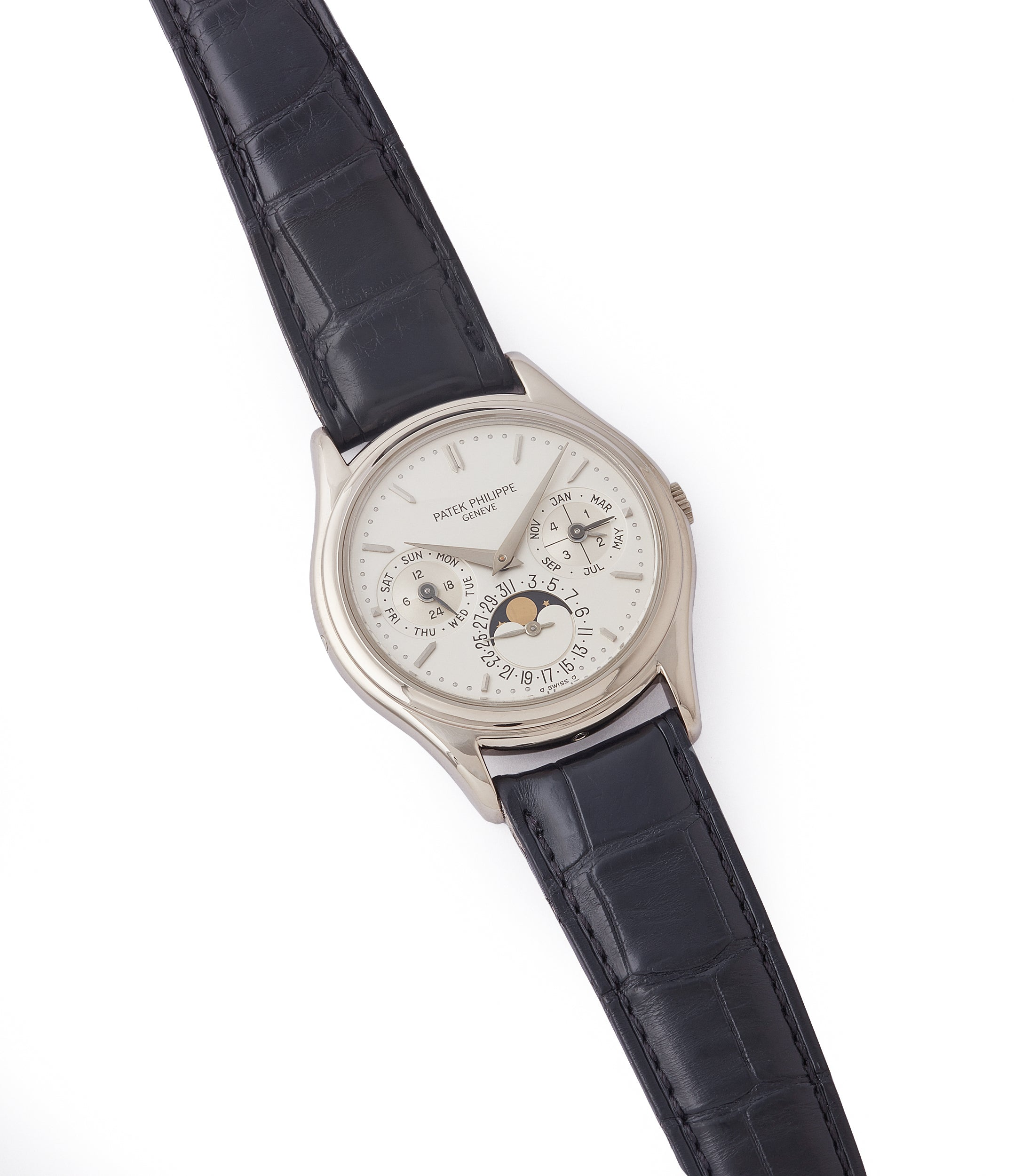 selling Patek Philippe 3940G Perpetual Calendar vintage rare watch English dial for sale online at A Collected Man London UK specialist of rare watches