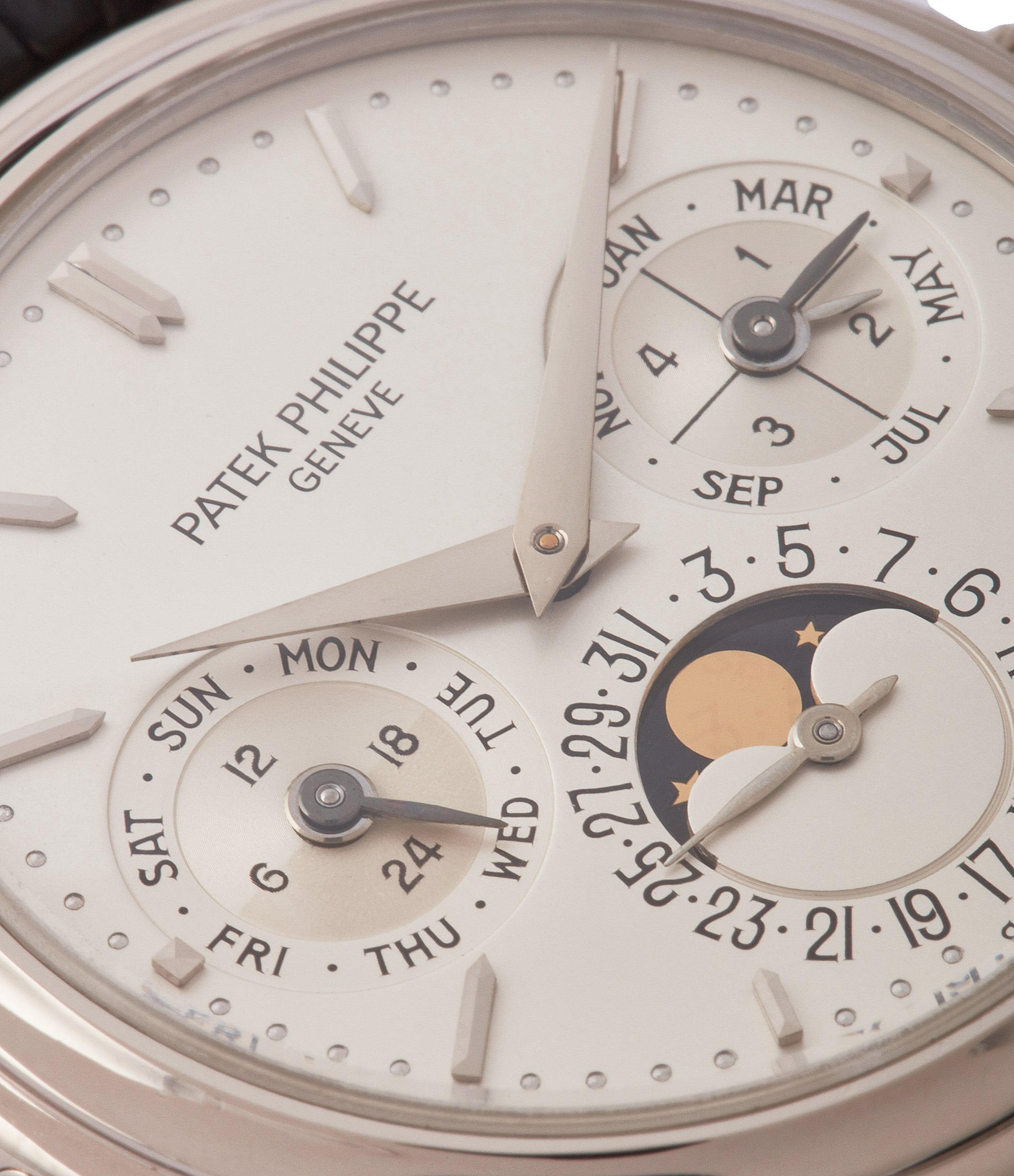 perpetual calendar moonphase Patek Philippe 3940G vintage rare watch English dial for sale online at A Collected Man London UK specialist of rare watches