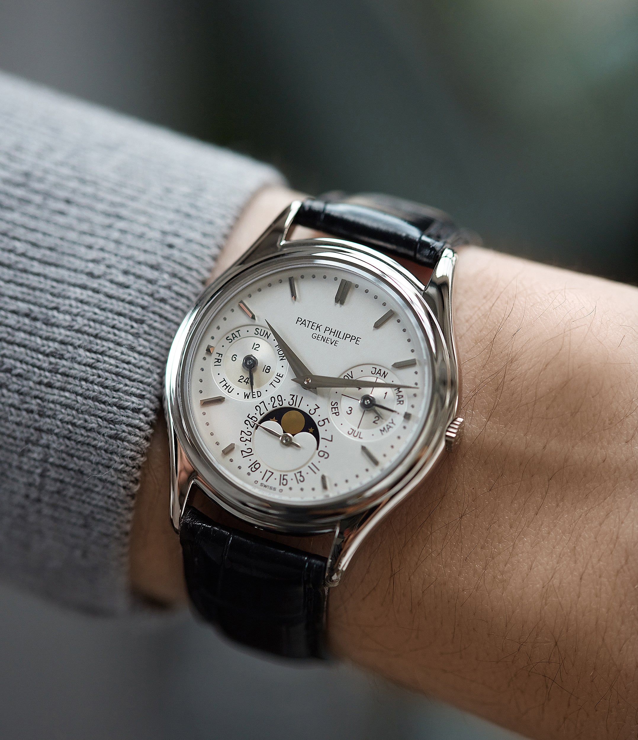 on the wrist Patek Philippe 3940G Perpetual Calendar vintage rare watch English dial for sale online at A Collected Man London UK specialist of rare watches