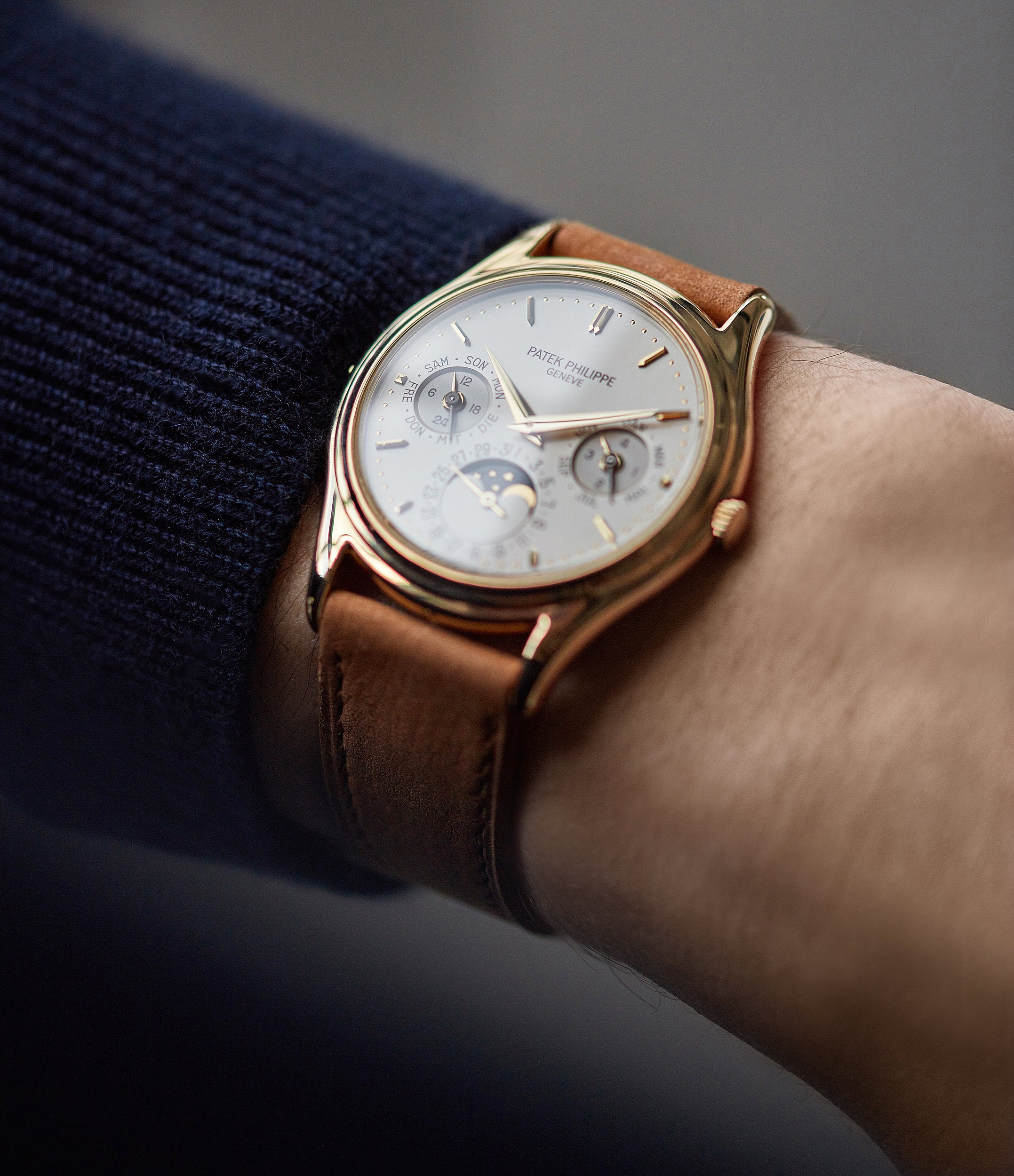 selling Patek Philippe 3940J first series yellow gold perpetual calendar dress watch for sale online at A Collected Man London