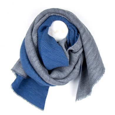 Blue And Grey Pleated Reversible Scarf