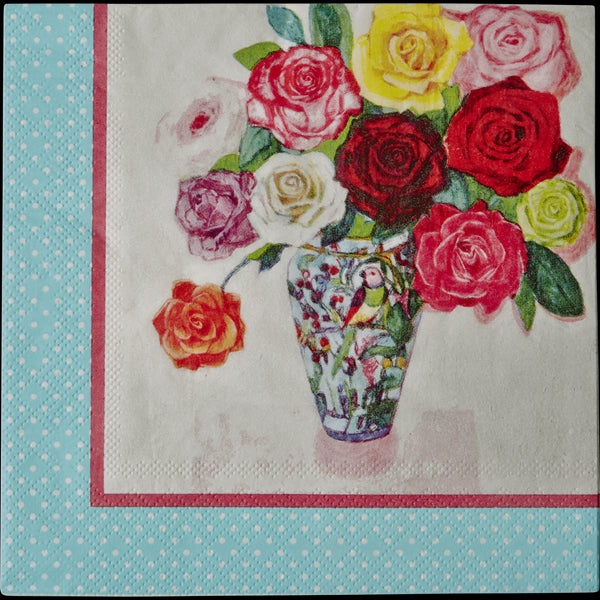20 Paper Napkins with Andrea Floral Print