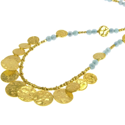 Amazonite Gold Plated Coin Necklace