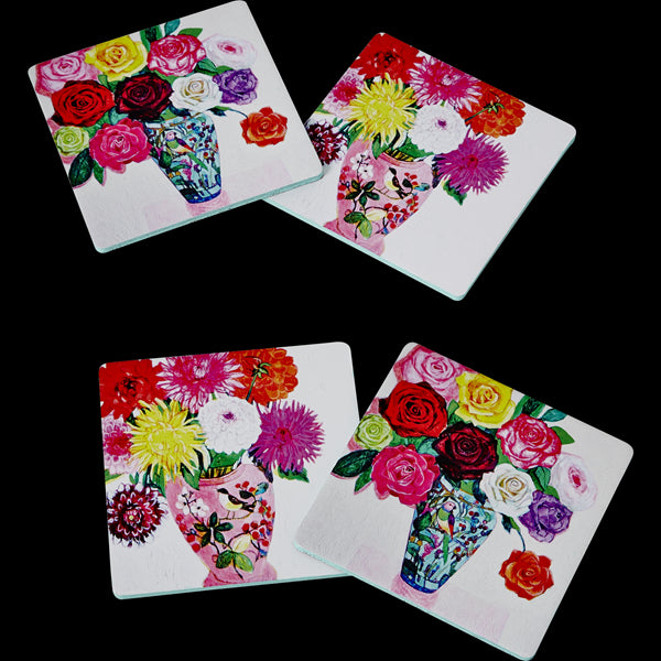4 Cork Coasters with Andrea Floral Print