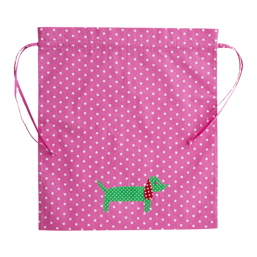Kids Pink Gym Bag with Dachshund Applique