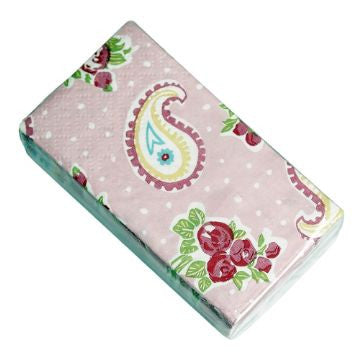 Pack of 12 Pink Paisley Tissues