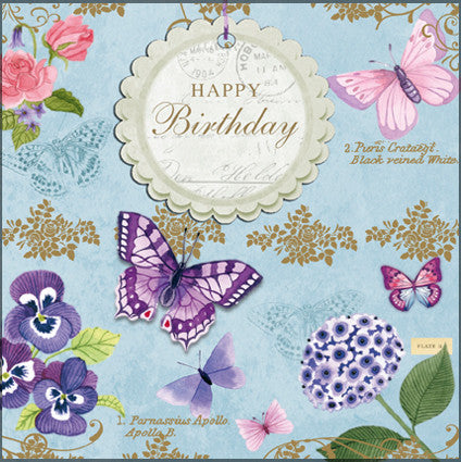 Vintage Butterflies Happy Birthday