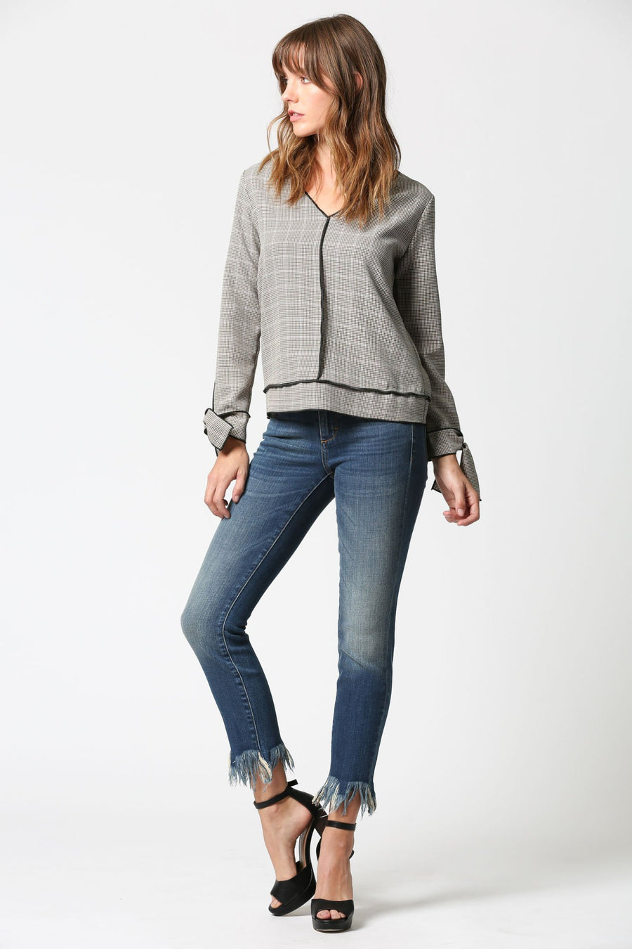 AMELIA <p/> Clean Whiskered Dark Wash Skinny with Extreme Frayed Hems