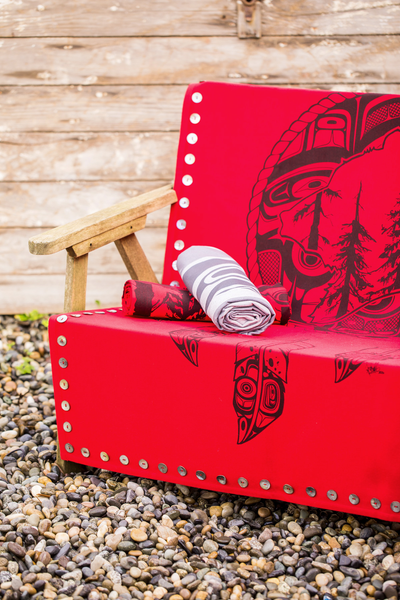Spirit Blanket - Great Bear Rainforest  - Red with Shell Buttons