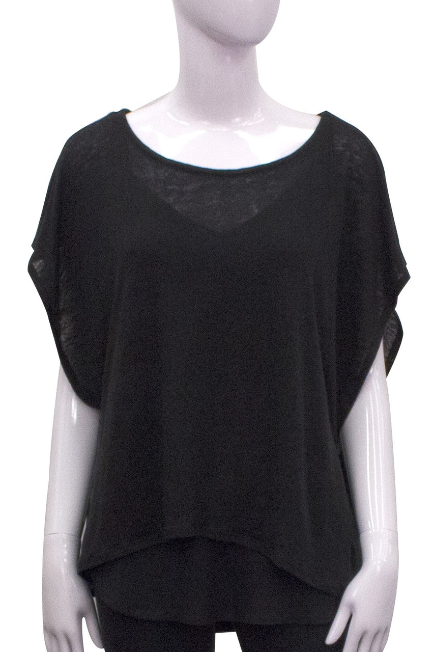 black linen boxy top