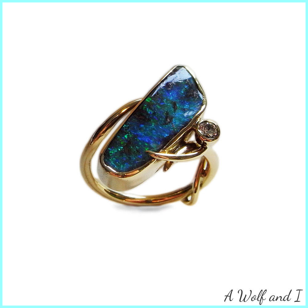 18t Gold Opal and Diamond Ring
