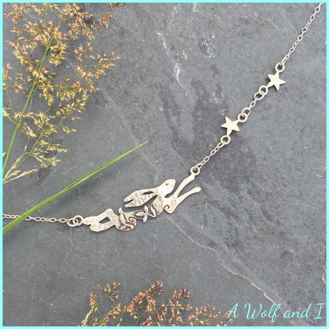 'Archie' Sterling silver running hare necklace.