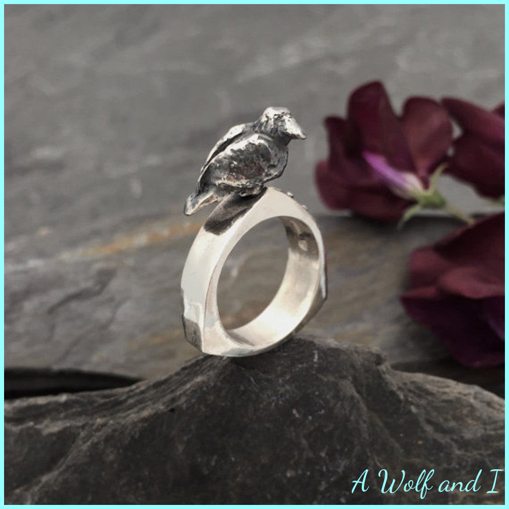 'Martha' Sterling Silver Crow Ring