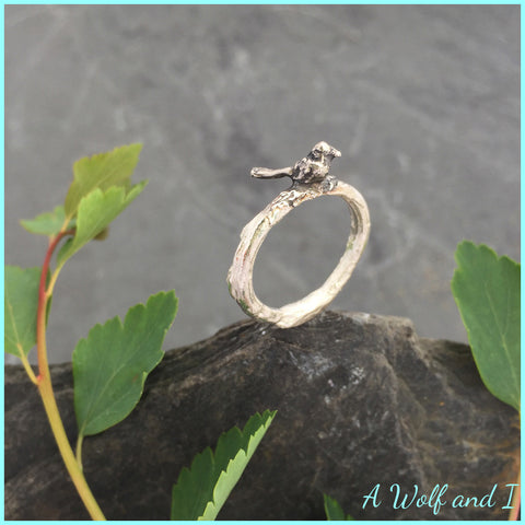 Sterling Silver 'Pete' Little Bird Twig Ring