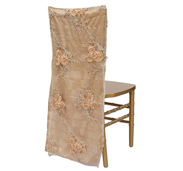 Ribbon Mesh Lace Chair Back - Champagne