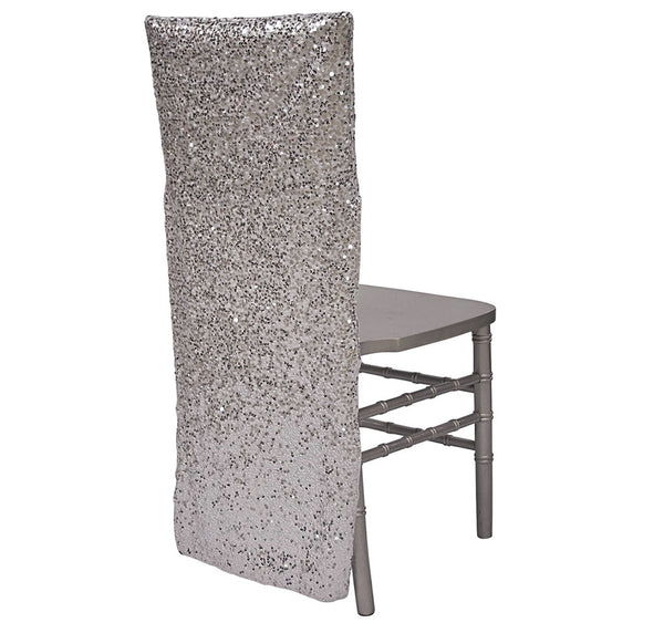 Taffeta Sequins Chair Back - Silver/White