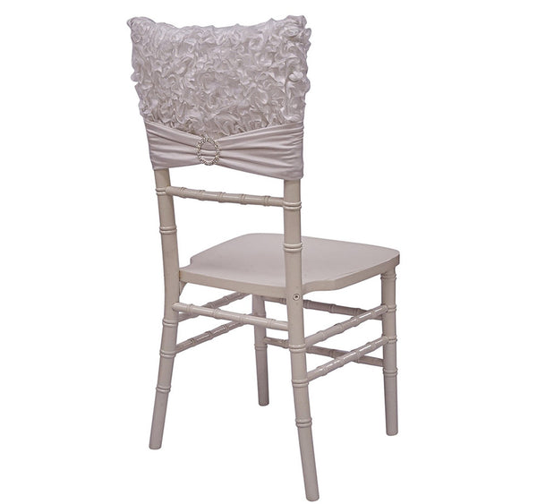 Curly Satin Chair Cap - White