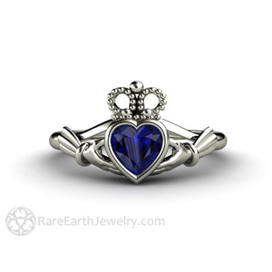 Blue Sapphire Claddagh Ring Heart Shaped Irish Wedding Ring in 14K White Gold Rare Earth Jewelry