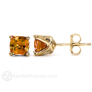 Cushion Cut Citrine Stud Earrings in 14K Gold by Rare Earth Jewelry