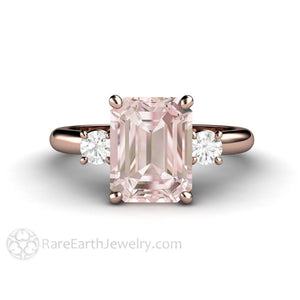 Rare Earth Jewelry Emerald Cut Morganite Ring with Diamonds Rose Gold Setting