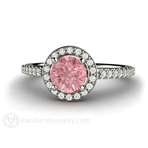 Rare Earth Jewelry Pink Sapphire Engagement Ring Round Cut Diamond Halo