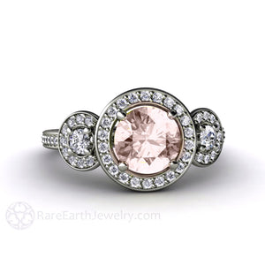 Rare Earth Jewelry 3 Stone Morganite Engagement Ring Round Cut Halo 14K or 18K Gold