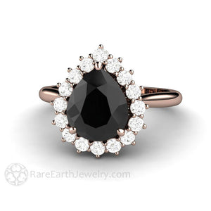 Rare Earth Jewelry Black Moissanite Engagement Ring Diamond Halo Pear Cut 14K Rose Gold Setting