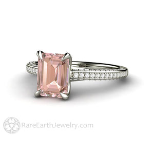 Emerald Cut Pink Sapphire Engagement Ring Solitaire with Pave Diamonds by Rare Earth Jewelry
