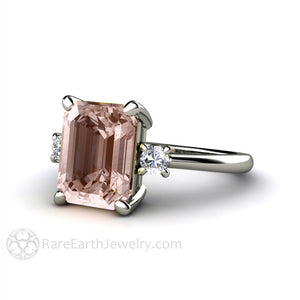 Rare Earth Jewelry Emerald Morganite and Diamond Ring 14K White