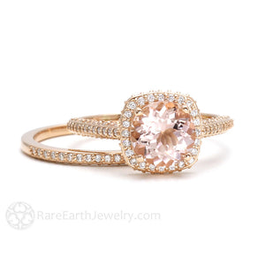 Rare Earth Jewelry Morganite Wedding Set Rose Gold Halo Setting with Diamonds