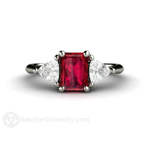 Rare Earth Jewelry Ruby Emerald Cut Ring with Sapphire Trillion Side Stones Vintage Style Design Three Stone