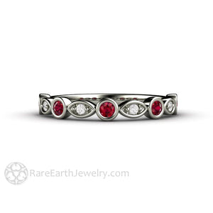 White Gold Ruby Wedding Band Stackable Ring with Diamonds 14K Bezel Rare Earth Jewelry