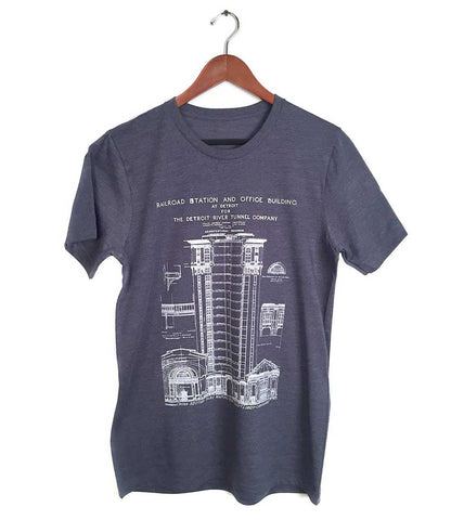 MCS Detroit Train Station Blueprint Fashion Tee, heather navy blue.  By Well done Goods