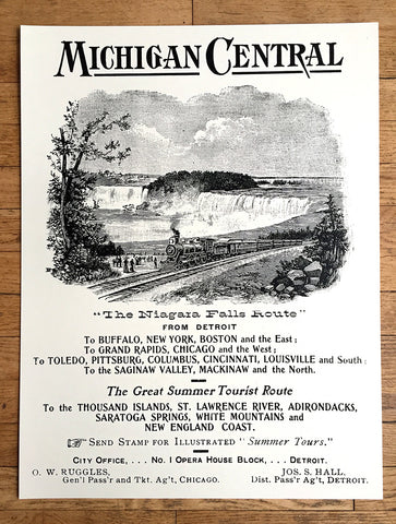 Michigan Central Railroad Silkscreened Poster, Vintage Ad