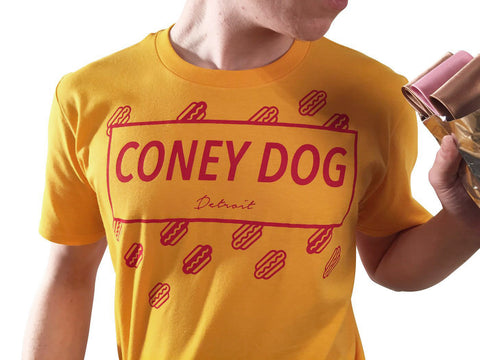Coney Dog Party T-Shirt, Flying Wieners & Buns, Red print on Mustard. Well Done Goods