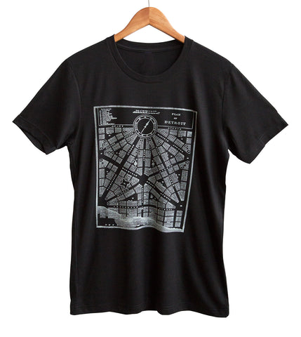 Detroit 1800s Map Plan Ice on Black Adult T-Shirt, Well Done Goods