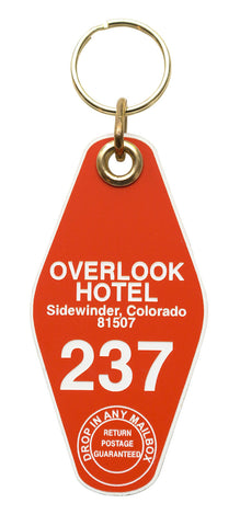 Overlook Hotel Motel Style Keychain Tag, Orange and White, by Well Done Goods