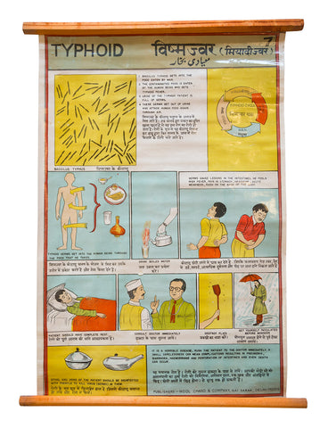 Indian Public Health Chart: Typhoid Awareness. Vintage Medical Poster. Well Done Goods