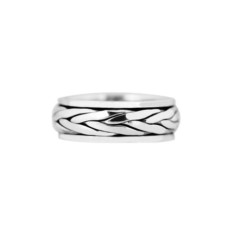 Sterling silver mens ring in Celtic design with central spinning band, with an oxidised plaited pattern, 8mm wide, ref 7315.