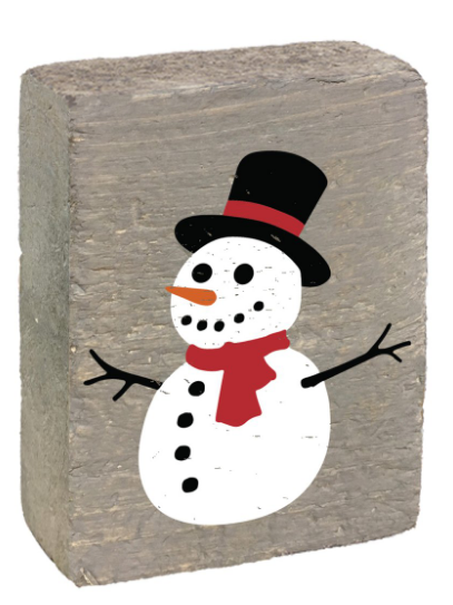 Rustic Marlin Block - Holiday - Snowman