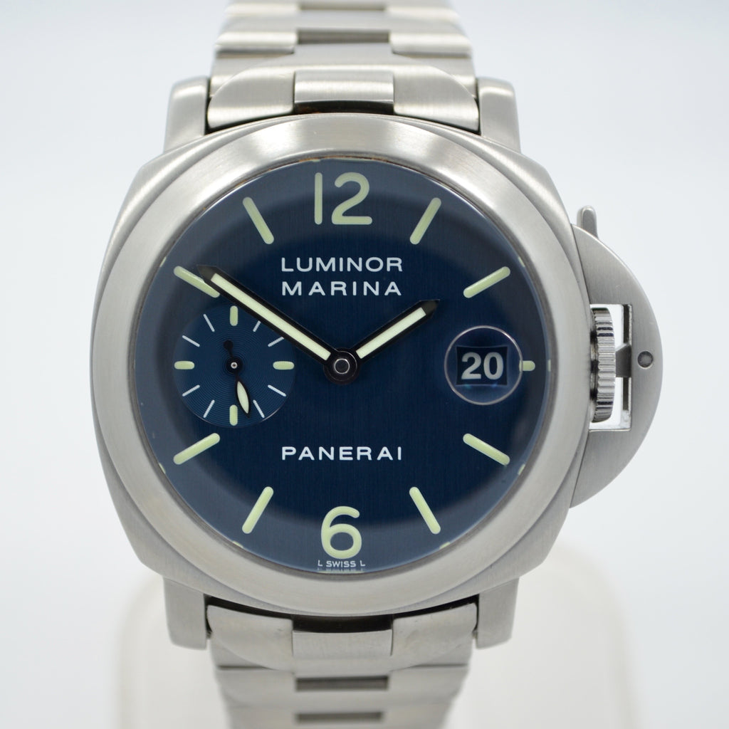 Panerai Luminor Marina PAM 120 Blue Steel Automatic Wristwatch