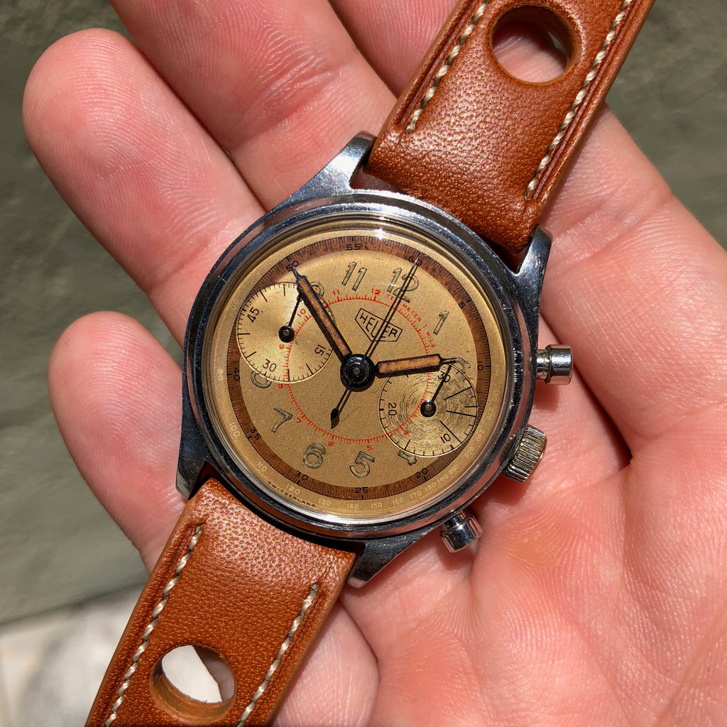 Vintage Heuer 59913 Stainless Steel Chronograph Valjoux 23 Manual Wristwatch