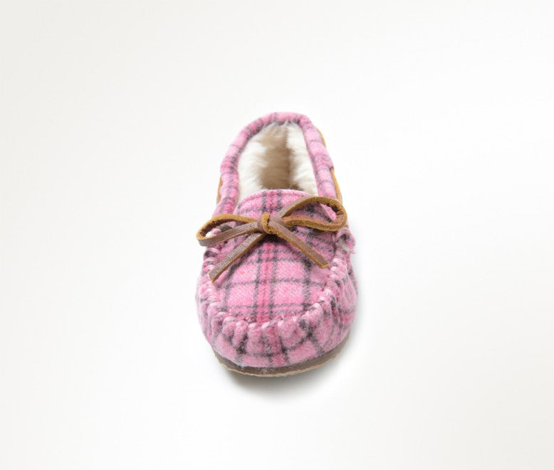 Minnetonka Moc Kids Cassie Slipper in Pink Plaid (Sizes 9-4)