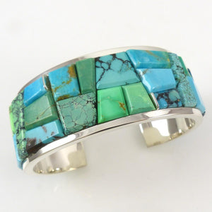 Turquoise, Gaspeite, and Variscite Cuff - Jewelry - Peterson Chee - 1